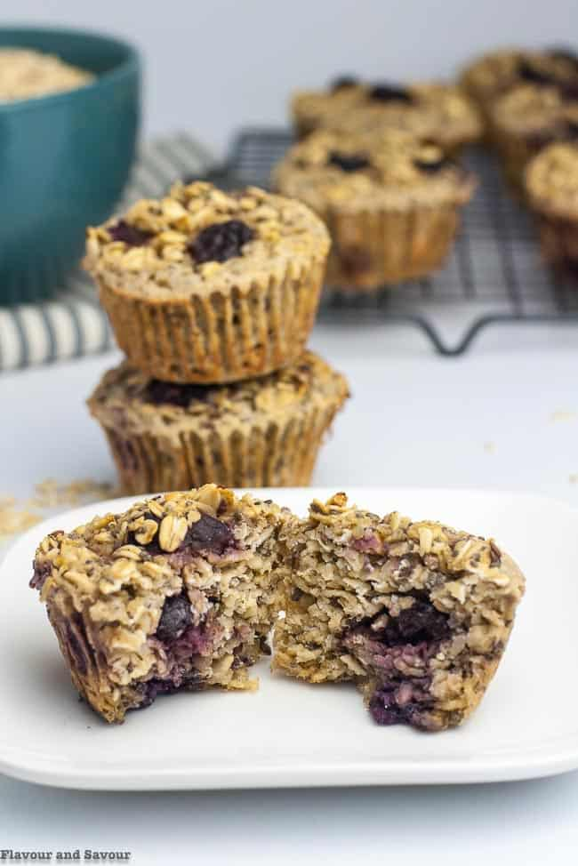 Inside view of Cherry Vanilla Baked Oatmeal Cups