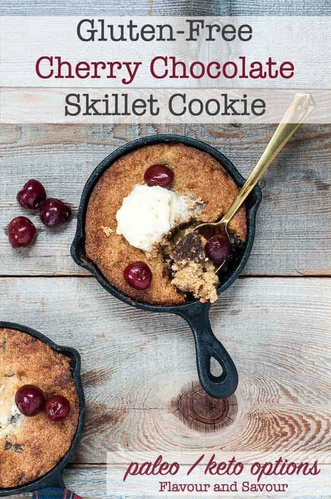 Gluten-Free Cherry Chocolate Skillet Cookie title 2