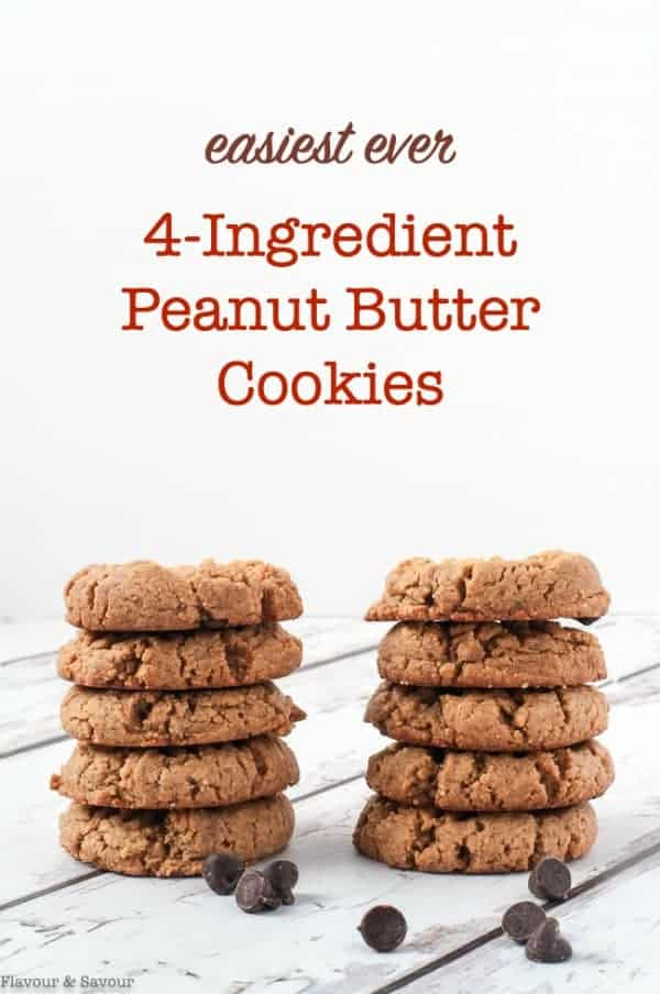 Stacked 4-Ingredient Keto Peanut Butter Cookies with title