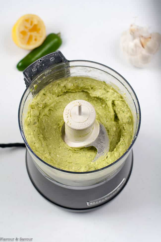 Avocado Feta Herb Dip mixed in food processor