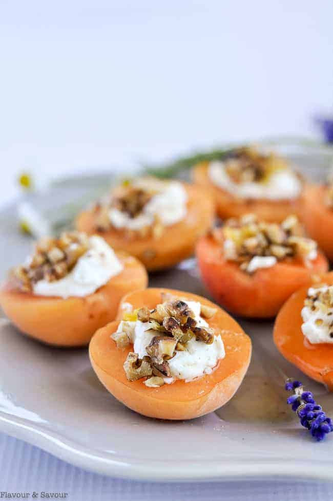 Fresh Apricot halves stuffed with goat cheese, walnuts and lavender honey