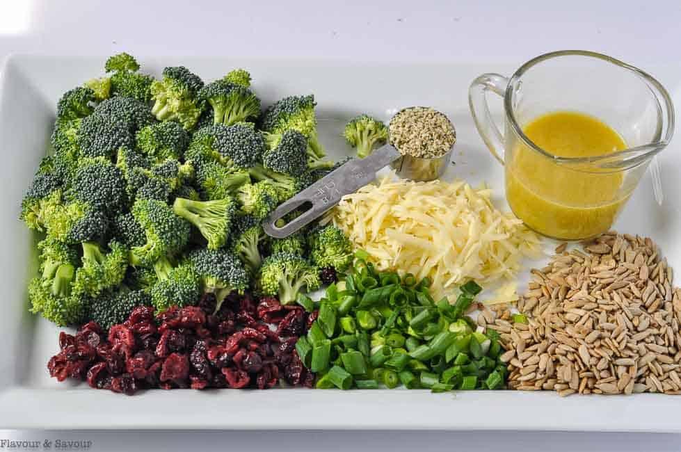 Ingredients for Honey Mustard Broccoli Cranberry Salad