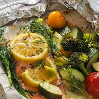Wild Salmon and Veggies cooked in a foil packet