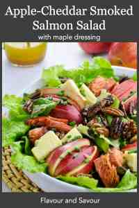PInterest pin for Apple Cheddar Smoked Salmon Salad with Maple Dressing
