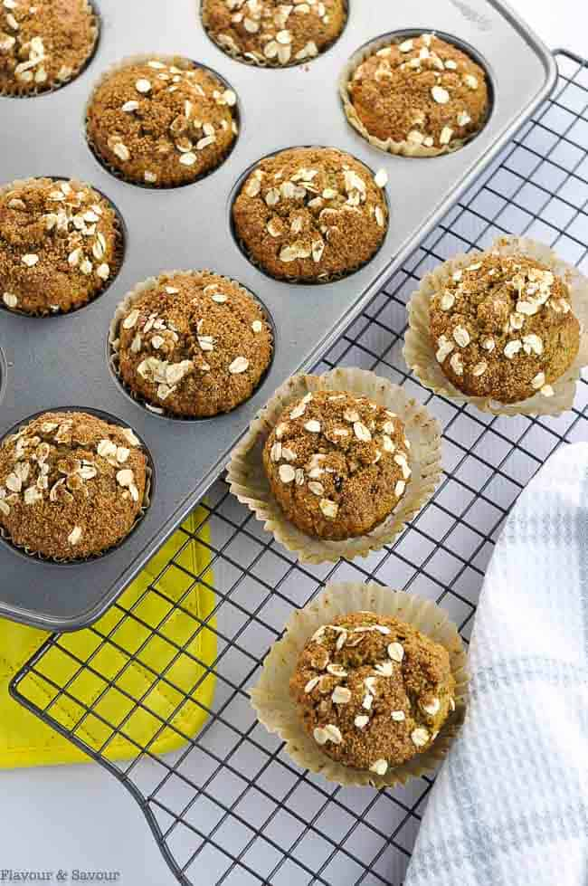 Chai Spiced Pear Muffins on a cooling rack