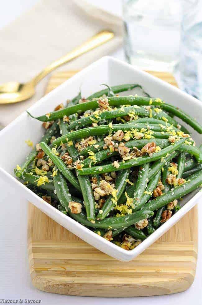 Skillet Parmesan Pecan Green Beans in a white bowl