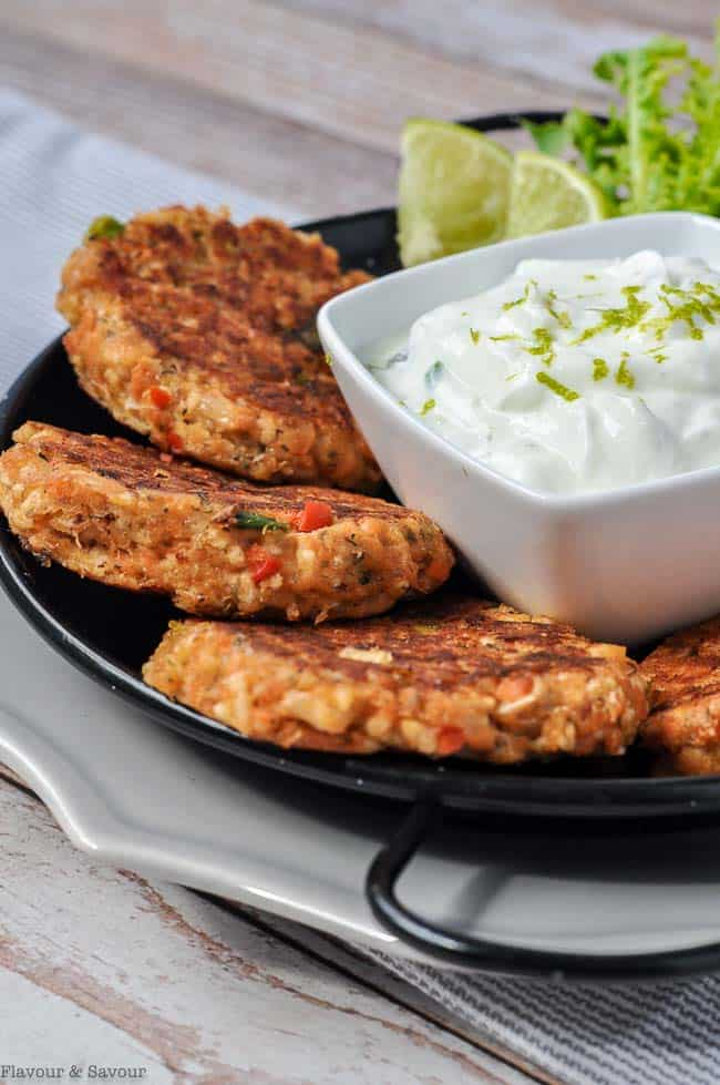 Baked Salmon Patties With Creamy Lime Sauce