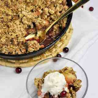 A serving of Skillet Cranberry Apple Crisp