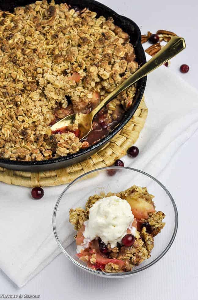A serving of Skillet Cranberry Apple Crisp