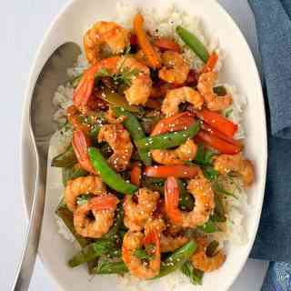 Overhead view Lemon Garlic Shrimp and Snow Pea Stir Fry
