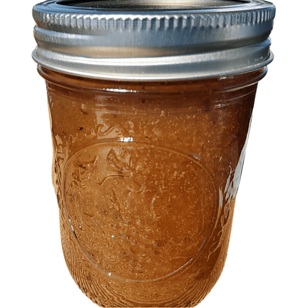 Peach and lavender jam, handcrafted from Flavour in a Jar using fresh, locally grown ingredients.