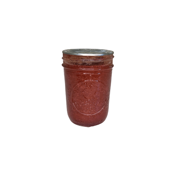Strawberry rhubarb jam handmade with fresh, local ingredients by Flavour in a Jar.