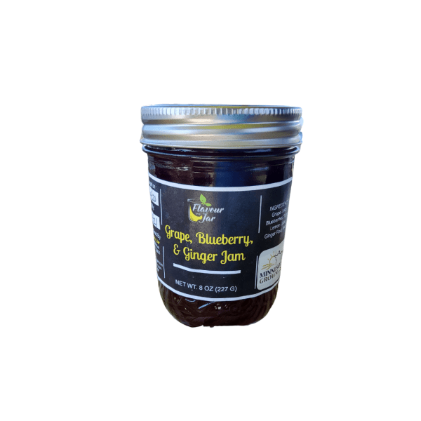 Grape, blueberry and ginger artisan jam handcrafted by Flavour in a Jar using locally grown produce.