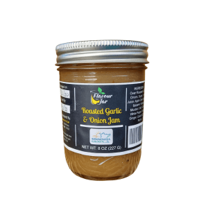 Roasted garlic and onion jam made fresh and local by Flavour in a Jar using locally grown produce.