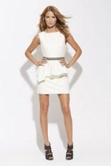 Cream peplum embelished waist dress