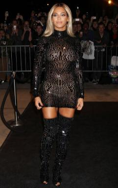 Beyonce risked a nipple slip wardrobe malfunction after stepping out in this see-through dress