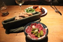 Bowl of French sausage with gherkins-camembert