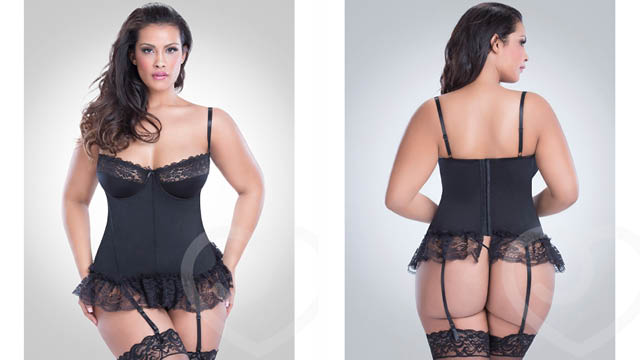 Oh La La Cheri Curves Plus Size Lace Trim Basque Set
