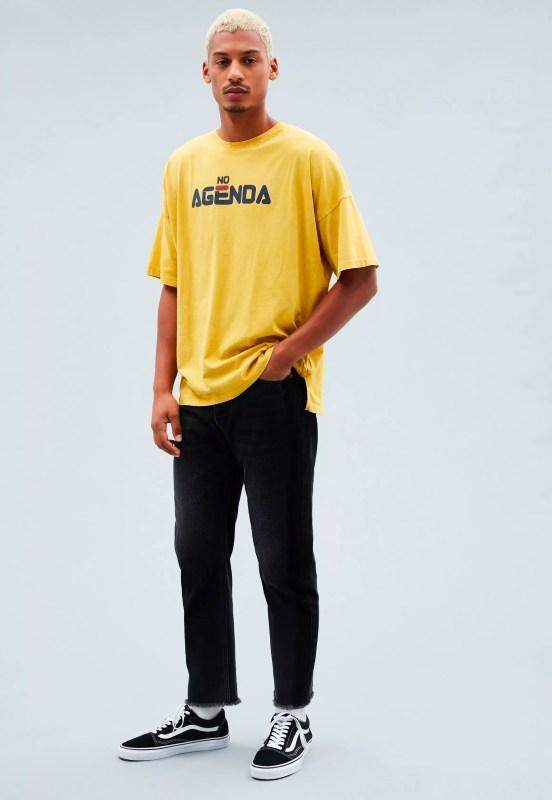 Yellow Boxy Printed Dropped Shoulder T-Shirt