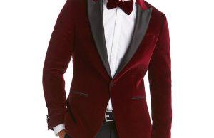 HUGO by Hugo Boss Chadly Velvet Slim Fit Dress Jacket, Dark Red