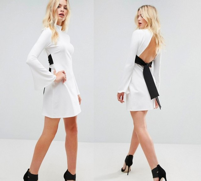 Mini Column Dress with Ribbon Tie and Fluted Sleeves