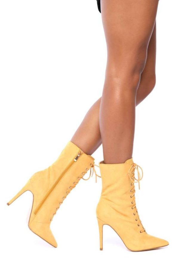 Mustard Faux Suede Ankle Boots With Block Heel