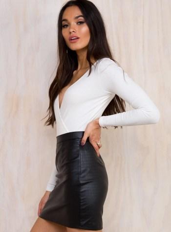 Poisonous Shadows Vegan Leather Skirt