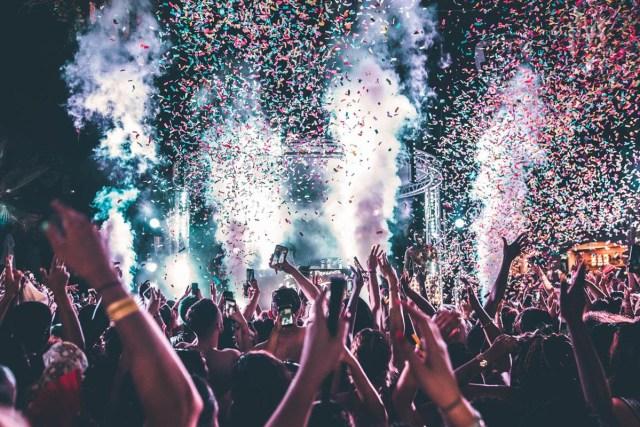 Stormzy celebrates England win during headline set at #MERKY Festival in Ibiza