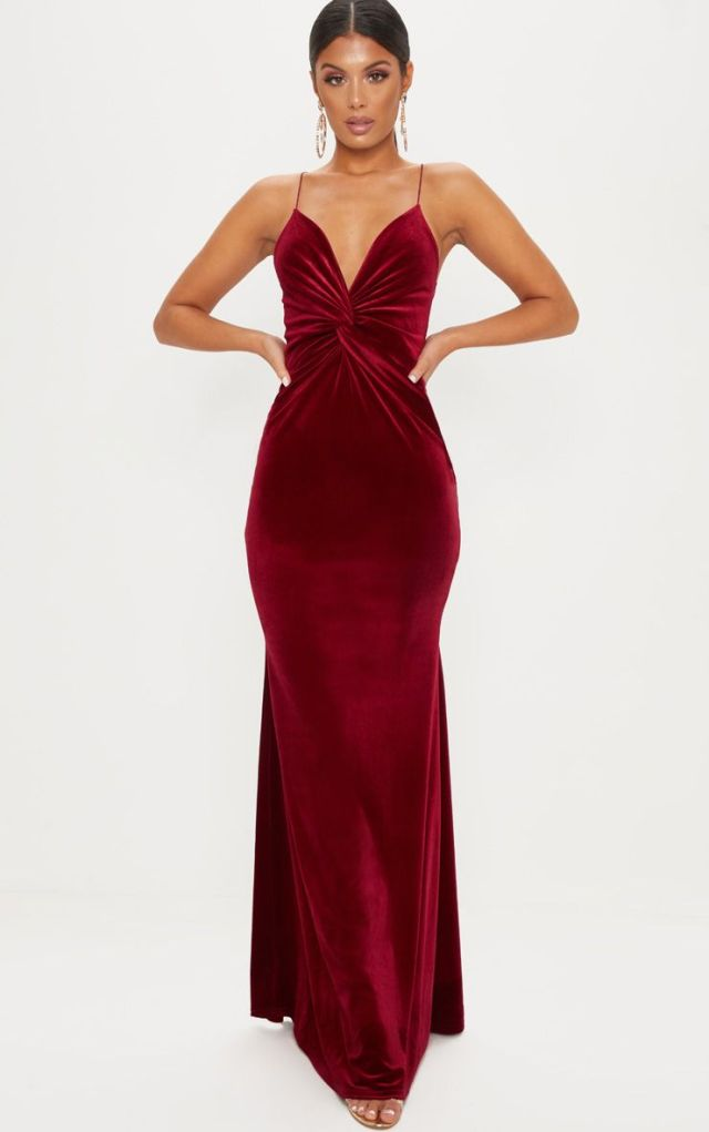Wine Velvet Knot Front Maxi Dress