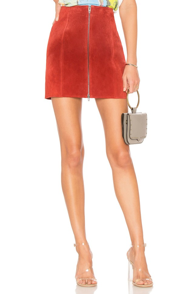 Zipper Suede Mini Skirt