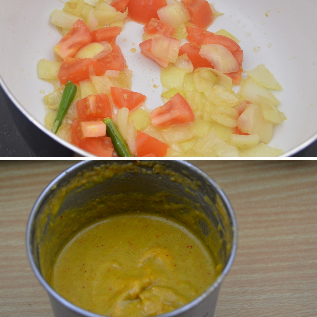 cooked onion tomato masala before and after grinding