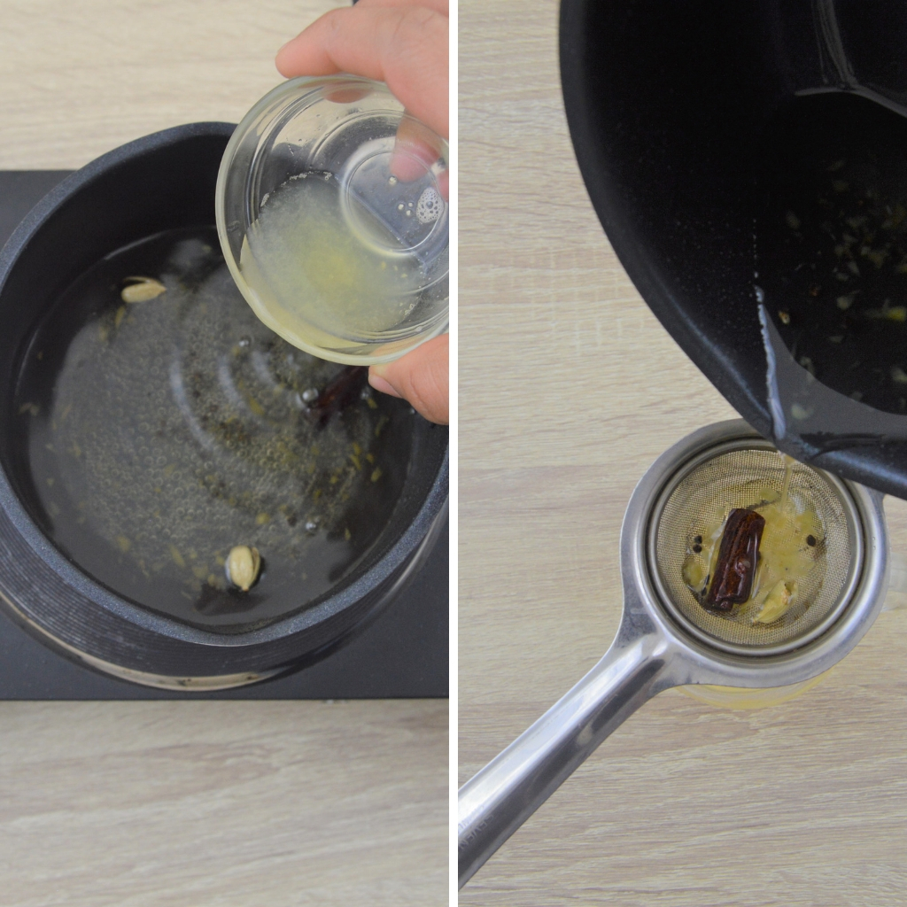 add lemon juice to syrup and strain the mixture