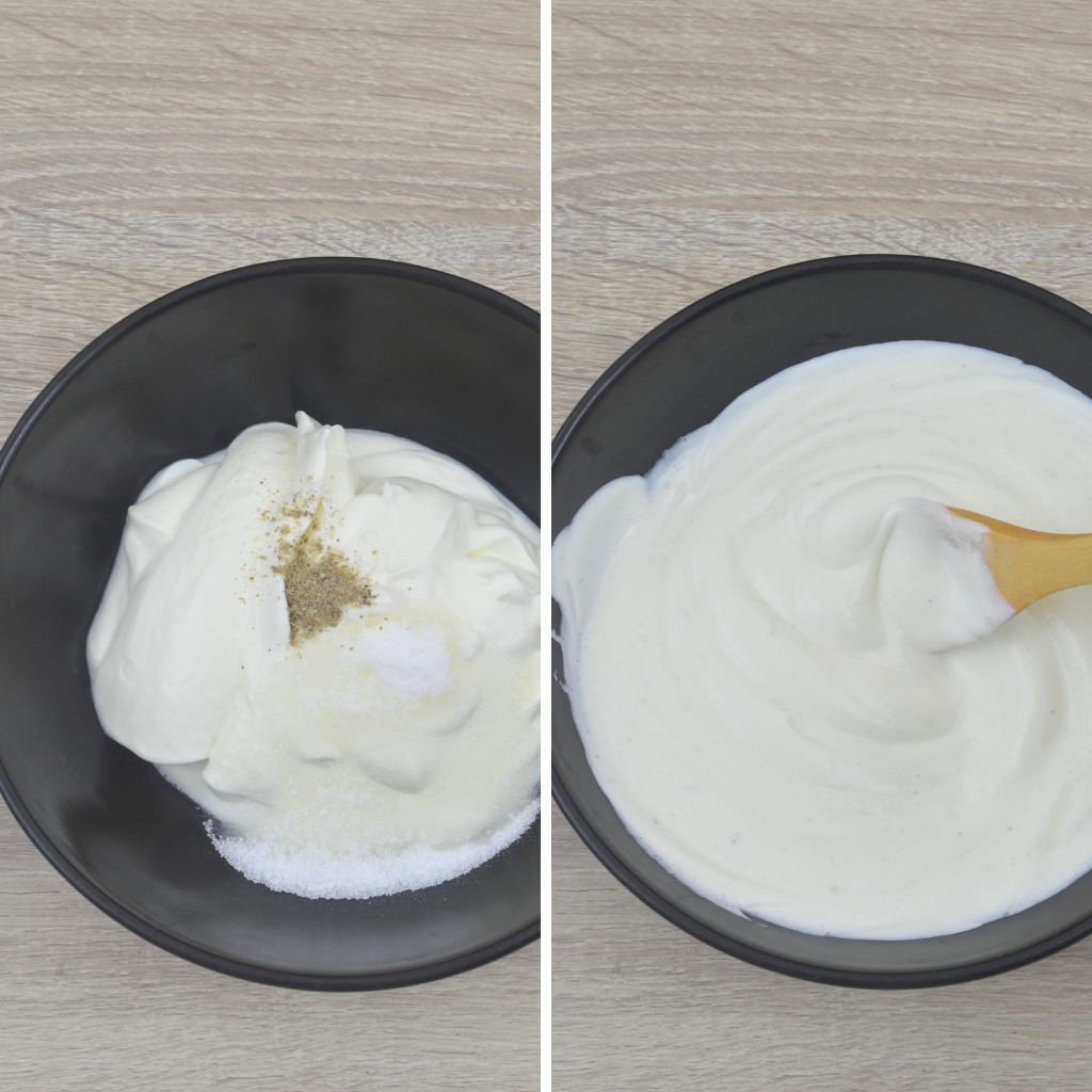 mixing yogurt sugar and cardamom powder