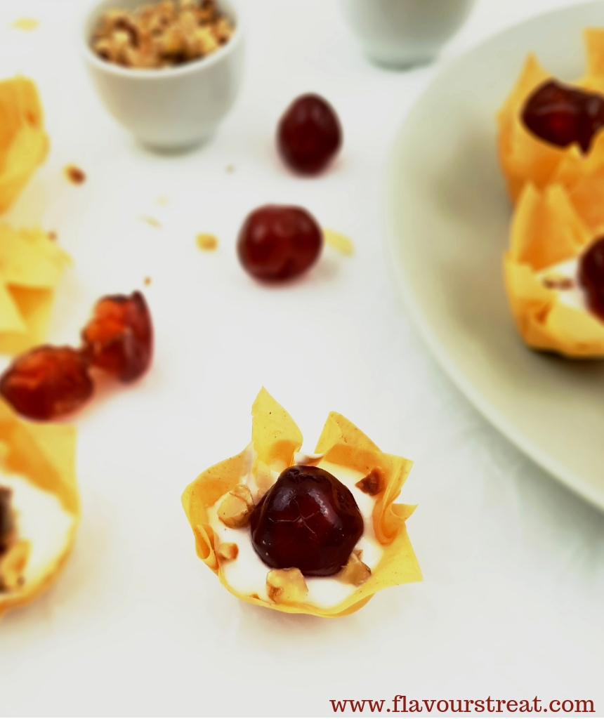 yogurt cherry filo cups
