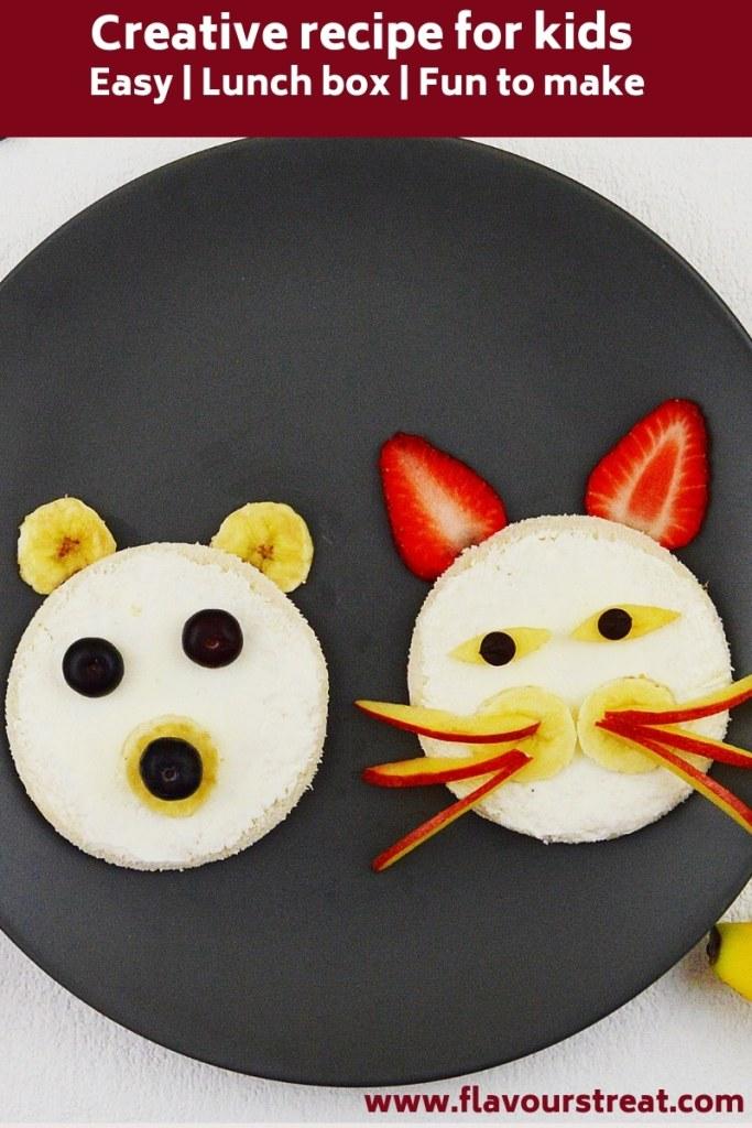 creative kids sandwich on black plate