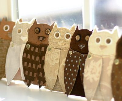 Upcycled Fabric + Paper Owls