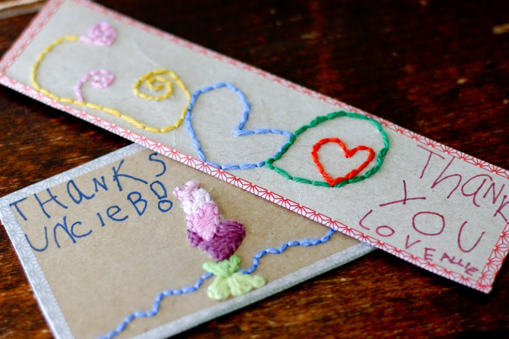 Hand Embroidered Note Cards for the Kids to Make - Flax & Twine