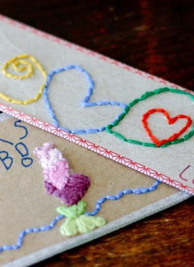 Hand Embroidered Note Cards for the Kids to Make