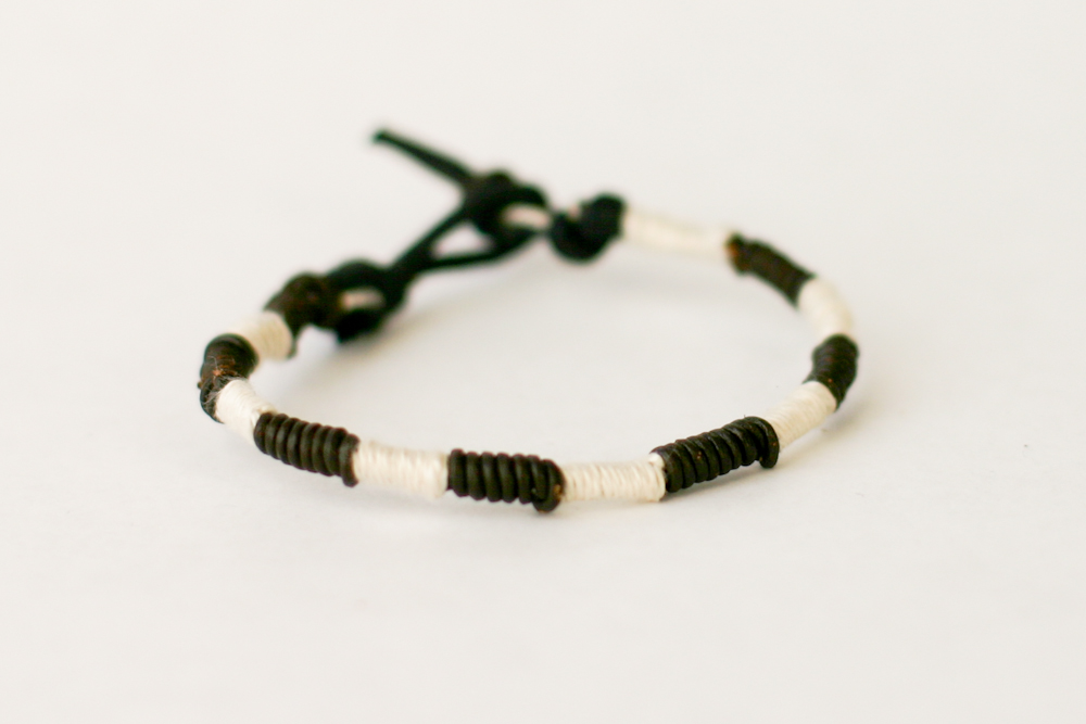 Leather + Thread Wrapped Bracelet DIY - a year of handmade ...