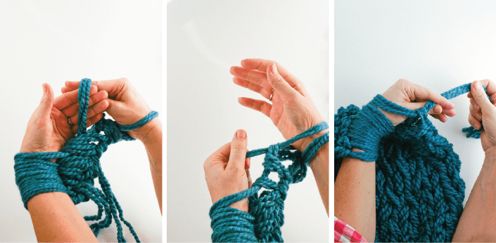 Arm Knitting Left Handed : Arm knitting how to photo tutorial part