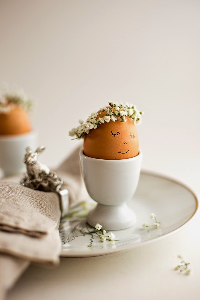 Floral Wreath Crowned Easter Eggs Diy Flax Twine