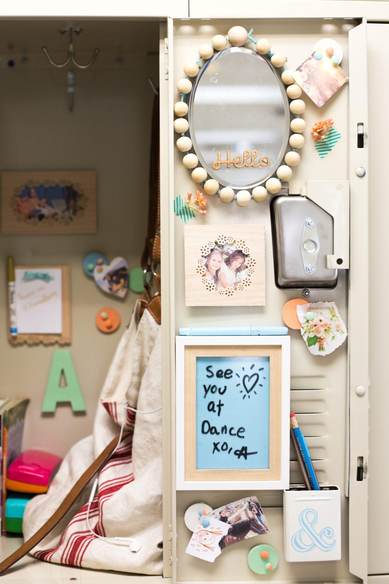 DIY Locker Decorations: Mirror +Bulletin Board - Flax & Twine