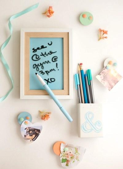 DIY Locker Decorations: Dry Erase Board + Pencil Cup