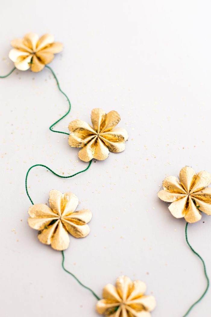 St Patricks Day Gold Leather Four Leaf Clover Garland DIY