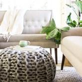 chunky knit floor pouf