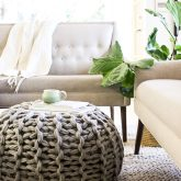 chunky knit floor pouf