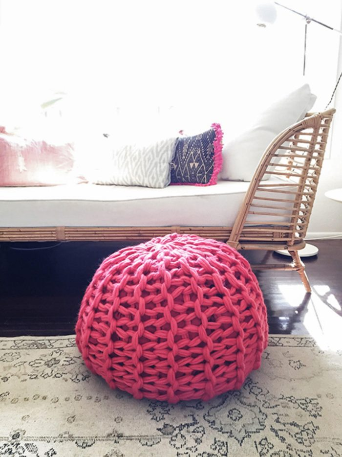 chunky knit pouf how to