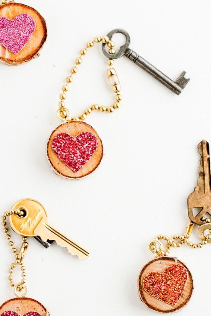 Sequin Heart Keychain-2
