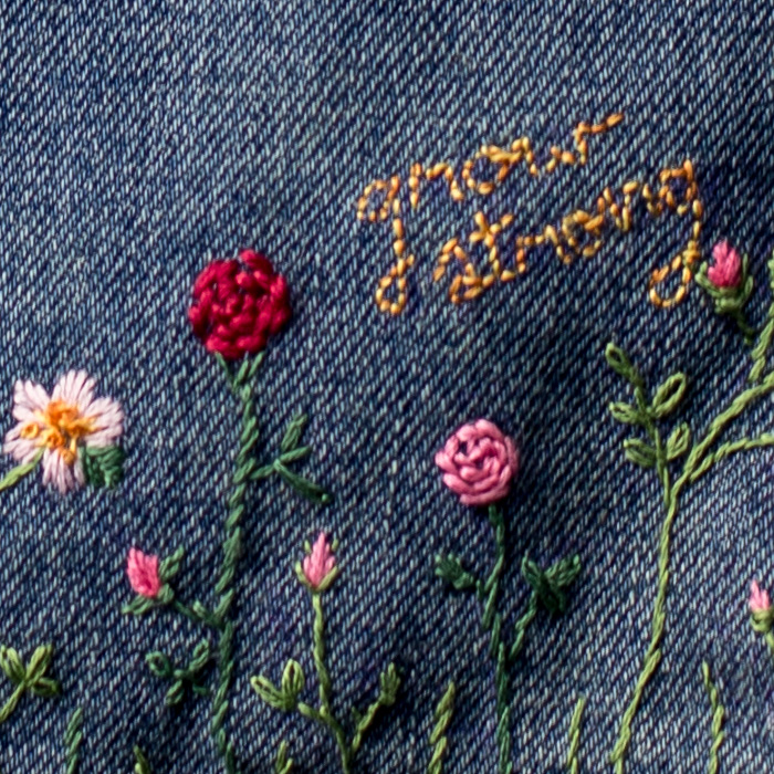 Make a fabulous diy embellished jean jacket flax twine diy embroidered embellished jean jacket by anne weil of flax twine ccuart Images