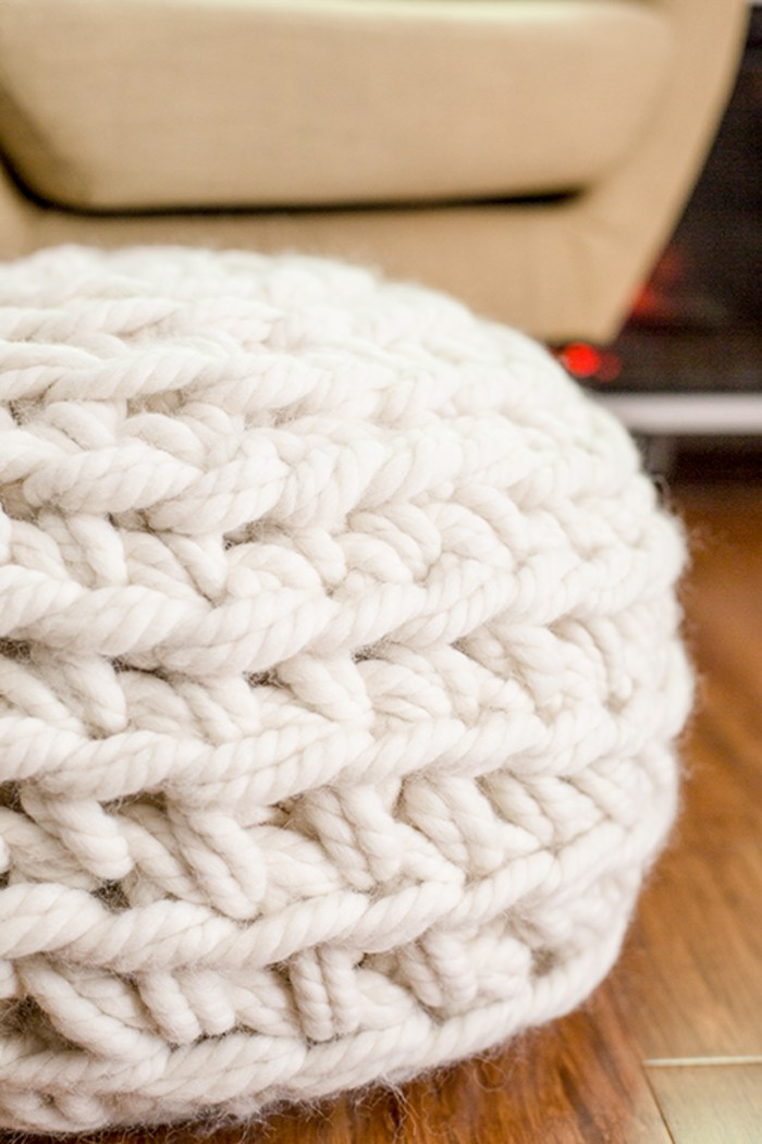 Hand Crochet Pouf Pattern by Anne Weil of Flax & Twine